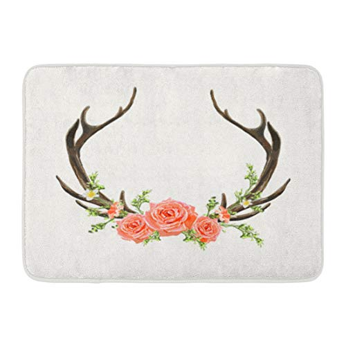 Emvency Doormats Bath Rugs Outdoor/Indoor Door Mat Watercolor Wreath Beautiful Horns Flowers Boho Chic Deer Antler Roses Branches Leaves and Various Laurel Bathroom Decor Rug Bath Mat 16
