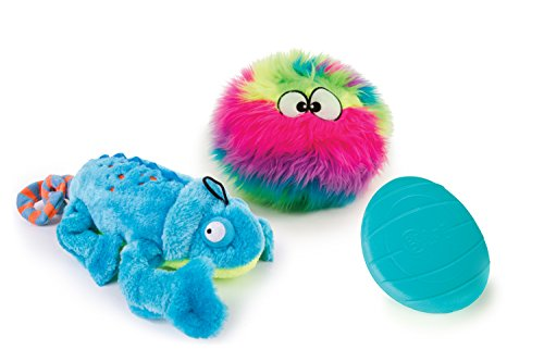 goDog 3 Count Amphibianz Chameleon Plush Toy, Furballz Plush