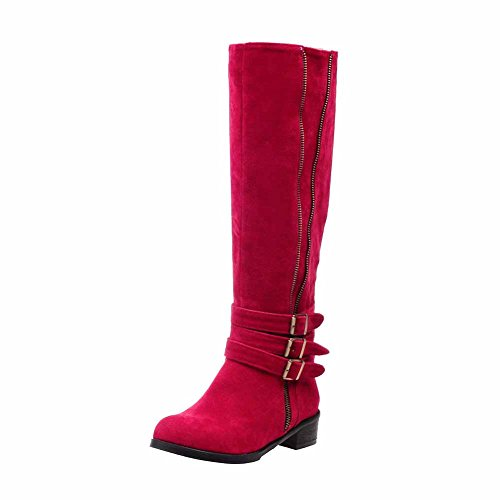 Allhqfashion Women's Low Heels Solid Round Closed Toe Frosted Zipper Boots Red npZt2ZL