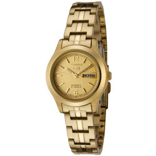 Seiko Women's SYME02 Seiko 5 Automatic Gold Dial Gold-Tone Stainless Steel Watch