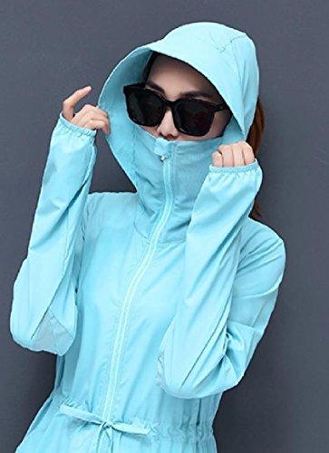 Sleeve Coat Light Tops Long Mid Blue Howme Women Sunscreen Solid Hooded Long Tunic zqTqYwfg