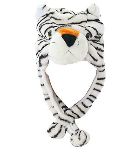 - Joyhy Unisex Winter Plush Ear Flap Animal Hats White Tiger