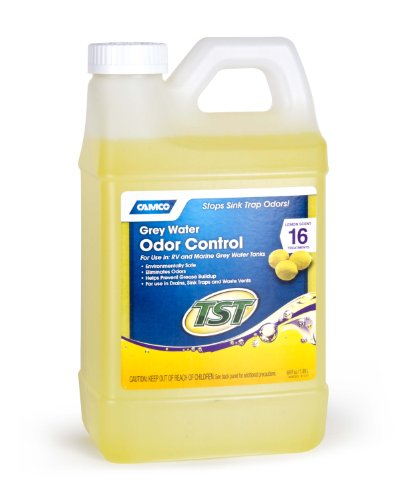 Camco TST Lemon Scent RV Grey Water Odor Control, Stops Sink Trap Odors, For Use In Drains, Sink Traps and Waste Vents, Treats up to 16 - 40 Gallon Holding Tanks (64 Ounce Bottle) - 40256