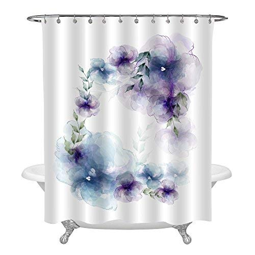 MitoVilla Watercolor Elegant Flower Decorations for Bathroom Bathtub Stalls, Vintage Style Natural Floral Shower Curtain Set with Hooks, Leaves Decor, Easy Care Washable, 72x72, Purple Blue Green
