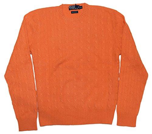 Polo Ralph Lauren Mens Cashmere Cable Sweater Orange Crewneck XL
