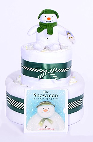 The Snowman Christmas Nappy Cake - Snow Man New Baby Shower hamper Gift Unisex - FAST & FREE DELIVERY! PureNappyCakes SMNC