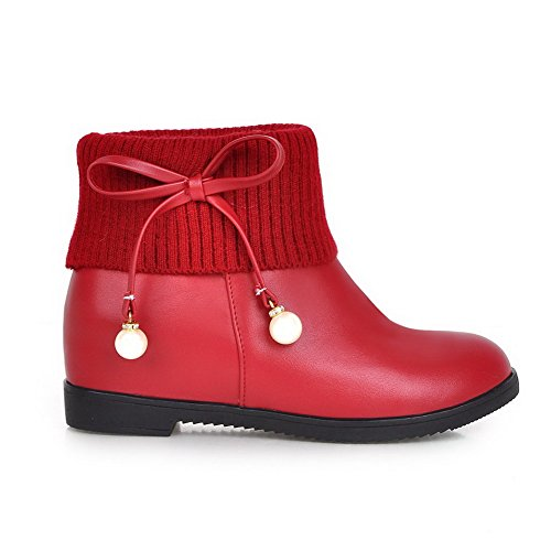 AllhqFashion Womens Round Closed Toe Low-top Kitten-Heels Solid PU Boots with Jewels Red rcqY0Gv