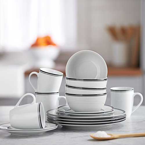 Amazonbasics 16-piece Cafe Stripe Dinnerware Set, Service For 4 - Black