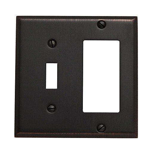 Baldwin 4743.112.CD Classic Square Beveled Edge GFCI Single Toggle Combo Switch Plate, Venetian Bronze