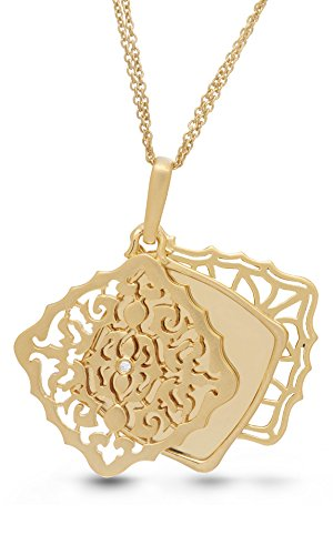 With You Lockets Yellow Gold-Diamond-Square-Custom Photo Locket Necklace-22-inch chain-The Mimi by by With You Lockets (Image #1)