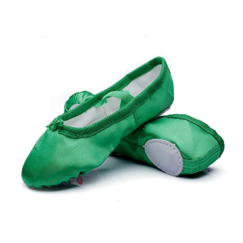 MSMAX Girls Ballet Shoes Satin Performa Dance Slippers for Kids Green 10 M US Toddler