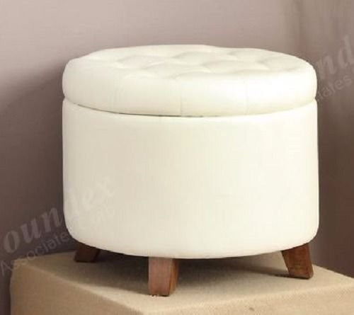 1PerfectChoice Accent Cute Organizer Round Storage Ottoman Footstool Pouf  Faux