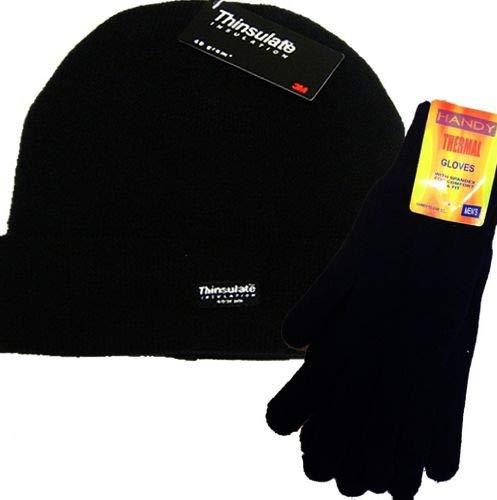 Para hombre Plain negro térmico Thinsulate gorro de lana y Handy Guantes Térmicos Set THINSULATE-HANDY