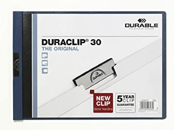 DURABLE 224607 - Duraclip 30 Orizzontale, cartellina con clip per archiviare documenti, capacità 30 fogli, formato A4, blu, confezione da 25 pezzi