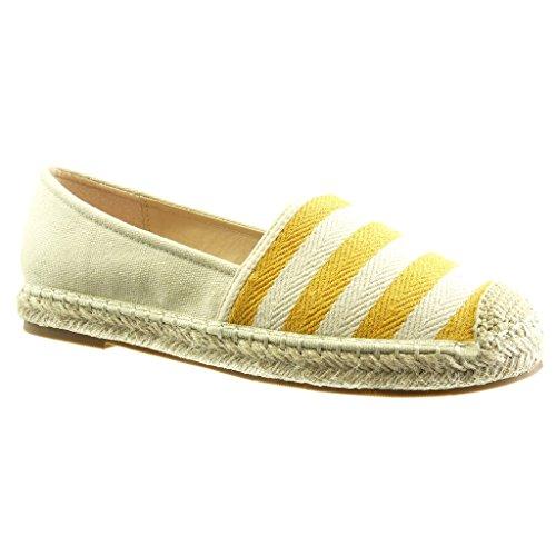 Ohne mit cm Espadrilles 5 Damenmode Schuhe 2 Verschluss Gelb Flacher Streifen Absatz Angkorly PntSZ0xq