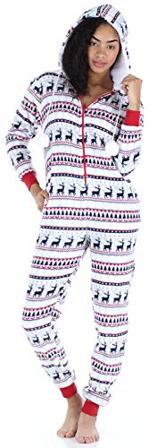 Frankie & Johnny Women's Sleepwear Fleece Onesie Pajamas, Deer Fairisle -