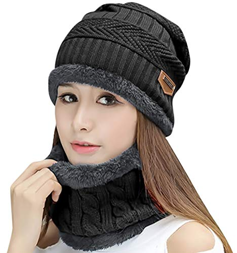 HINDAWI Womens Beanie Winter Hat Scarf Set Slouchy Warm Snow Knit Skull Cap (Black)