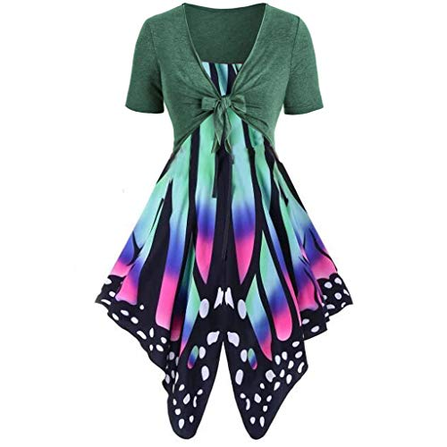 Toponly 2Pcs Women's Short Sleeve Butterfly Print Bow Knot Bandage Tops Pullover Cardigan+Camisole Sling Mini Dress Suits