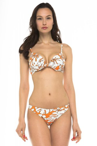 Private Island Hawaii UV Women Push Up Padded Bra Bikini Top Orange with Ivory White X-Large - Orange White Bikini