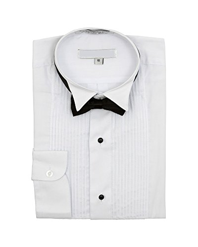 Sunrise Outlet Boy's Wingtip Collar Pleated Tuxedo White Shirt Black Bow Tie - 16 ()