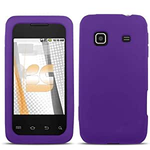 Solid Purple Silicone Skin Gel Cover Case For Samsung Galaxy Prevail M820