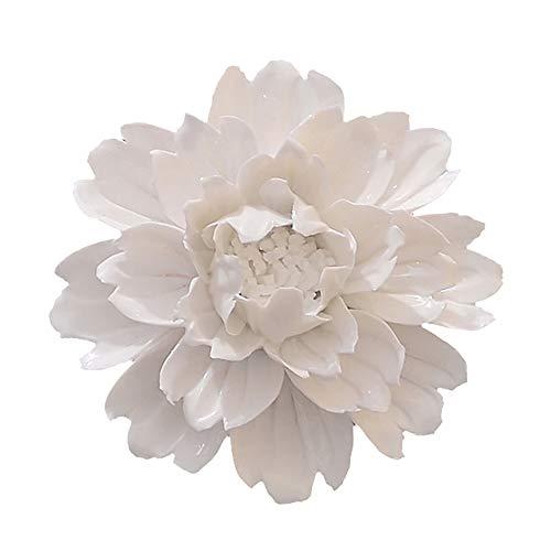 ALYCASO Handmade Decorative Ceramic Flowers 3D Wall Decor Hanging Room Decoration Art (XL- 5.9 in, Peony White) -