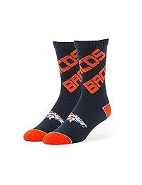 NFL Denver Broncos '47 Helix Sport Team Color Crew Socks, Light Navy, Large (Men's 9-13 / Women's 10-12), 1-Pack