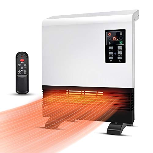 Electric Space Heater - 1500W Wall Mount Heater with Standing Base, with Thermostat, Energy Saving, Timer Function, 3 Modes, Quick Heat Room Heater, Electric Heater for Bathroom, Bedroom, Living Room
