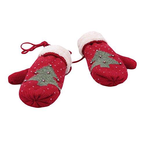 菊布入力暖かい編み手袋冬の暖かいミトンフルフィンガースキーグローブホルター手袋