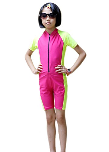 OUO One Piece Sun Protection Rash Guard For Kids Short Sleeves Swimsuit