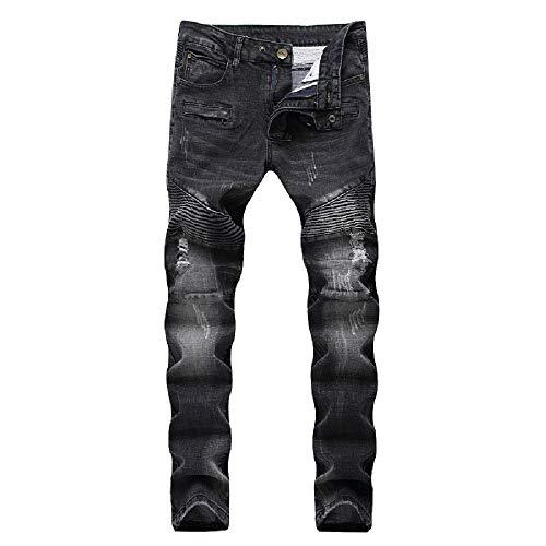 Liuhond Skinny Fashion Men's Ripped Straight Holes Hip Hop Biker Stretchy Jeans (32Wx31L, 109black) (Fashion Ripped Jeans)