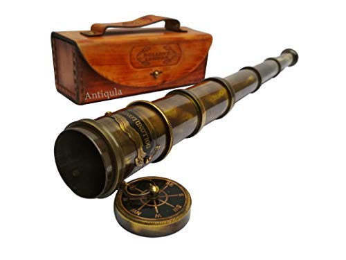 Antique Look Vintage 15 inches Dollond London Chain Telescope Royal Navy Decorative Gift Item with Leather Case Home Decor Toy Gift Pirate Navigation from Antiqula
