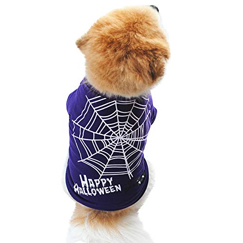 Letdown Halloween Dog Purple Clothing, Cotton Spider Web Printed T Shirt Puppy Costume (S, Purple) ()