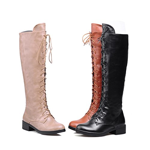 Knee up High Boots Beige AIWEIYi Flat Womens Lace wq4WWIpv