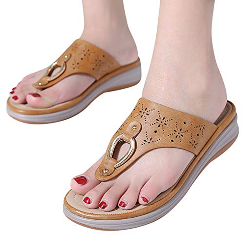 - NEARTIMEWomen's Sandals-Summer Retro Fashion Ladies Comfortable Shoes Thick Metal Large Size Casual Slippers