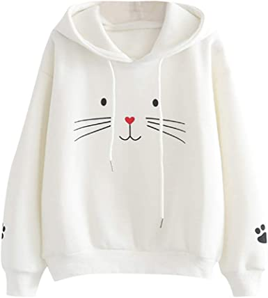 ZYUEER Capuche Oreilles Chat Sweatshirt Kawaii Manteau à La Mode Pullover Sweat Shirt Chemisier Cartoon Encapuchonné Pull