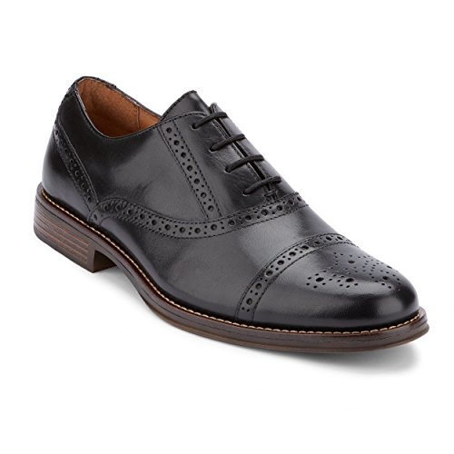 G.H. Bass & Co. Mens Woolf Leather Cap Toe Oxford Shoe, Black, 11 M