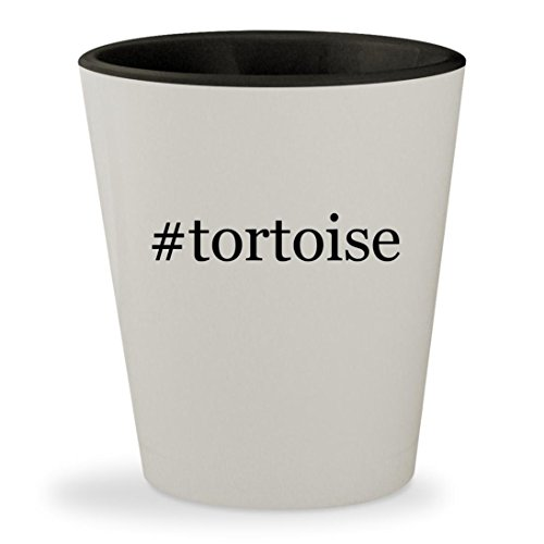 #tortoise - Hashtag White Outer & Black Inner Ceramic 1.5oz Shot Glass (Tortoise Sulcata House)