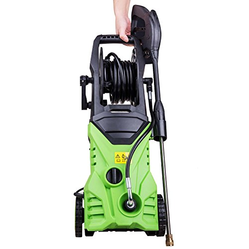 Homself 3000 PSI 1.80 GPM Electric Pressure Washer, 1800W Electric Power Washer with Hose Reel, 4 Quick-Connect Spray Tips