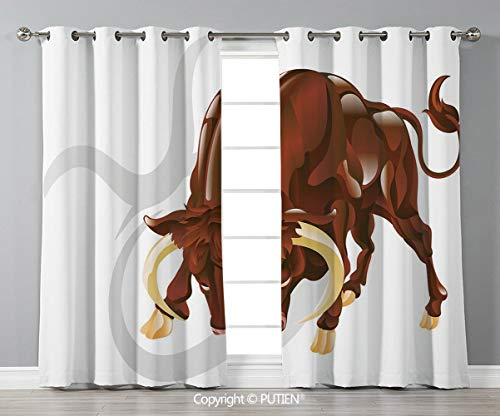 Grommet Blackout Window Curtains Drapes [ Taurus,Angry Bull Birth Sign Astrology Animal Icon Cultural Western Spirituality Graphic Decorative,Redwood Cream ] for Living Room Bedroom Dorm Room Classroo