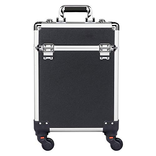 (Yaheetech Aluminum Portable Cosmetic Beauty Hairdressing Makeup Box Case Storage Trolley Black)