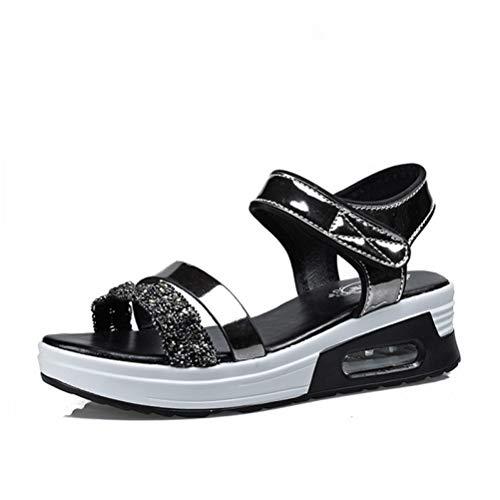 - Nafanio Womens Platform Sandals Open Toe Comfortable Cushion Hook and Loop Slingback Low Wedge Sandal
