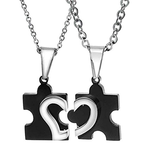 UM Jewelry His and Hers Stainless Steel Love Heart Puzzle Pendant Couple Necklaces