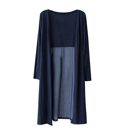 - Kshion Women Boho Beach Kaftan Maxi Chiffon Long Cardigan Kimono Coat Tops (Navy)