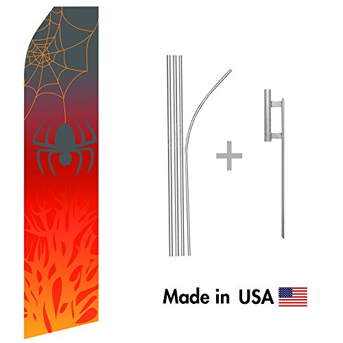 Halloween Spider Econo Flag | 16ft Aluminum Advertising Swooper Flag Kit with Hardware]()