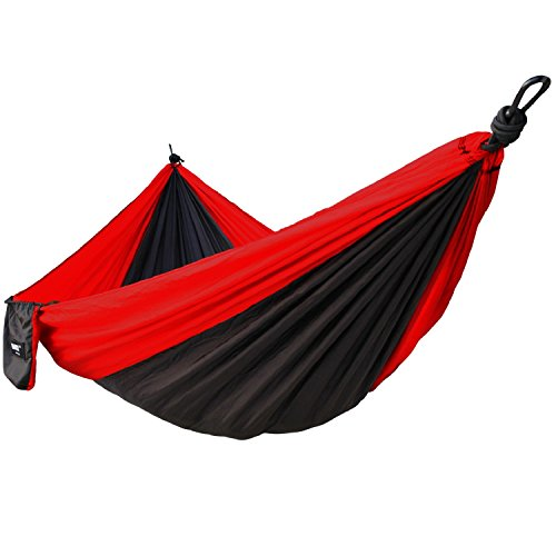 Hammock IMISI Double 2 Person Portable Parachute Nylon Fabric Travel 450lbs Ultralight Military Grade Camping Hammock Set Double Wide Outdoor Travel Multifunctional Lightweight Suspension System Compa by IMISI