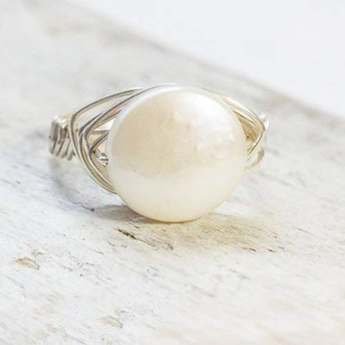Großer Perlen Ring Echt Silber Oder Versilbert Mit Flacher Weißer