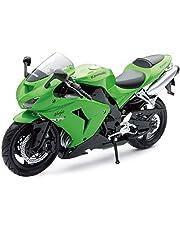 New Ray 42443 A - Kawasaki ZX 10 R / Honda CBR Motorfiets, Miniatuur Voertuig, 1:12 Schaal, Groen/Zwart