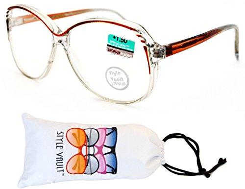 E3061-VP Style Vault Reading Glasses (B2855F +1.50 Brown/Clear, - Nerd Style Reading Glasses
