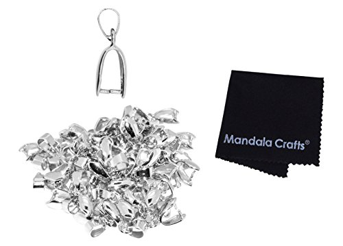 Mandala Crafts Metal Pinch Bail, Pendant Connector, Dangle Charm Clasp Clip for Jewelry Making; 50 PCs Finding Kit (Silver Tone, 7 X 20mm)
